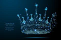 För krona poly blått lågt royaltyfri illustrationer