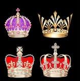 för kronaguld för bakgrund svart set Royaltyfri Fotografi
