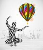 För kroppdräkt för man oavkortad ballong för innehav Arkivbild