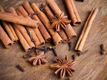 för kryddnejlikastjärna för anise kanelbruna sticks Arkivbilder