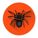 För krypallhelgonaafton för stor svart spindel läskig symbol för ferie stock illustrationer