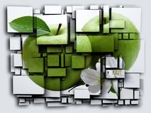 För kubeffekt för foto 3D gräsplan Apple framförande 3d Fotografering för Bildbyråer
