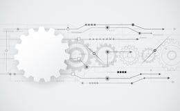 För kugghjulhjul för vektor abstrakt futuristisk teknik på strömkretsbräde Royaltyfria Bilder
