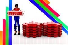 för kugghjulprocess för kvinnor 3d illustration Royaltyfria Bilder