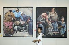 för kulturexhibiton för porslin kinesiska målningar Arkivbilder