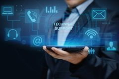 För kundtjänstaffär för teknisk service begrepp för internet för teknologi arkivfoto