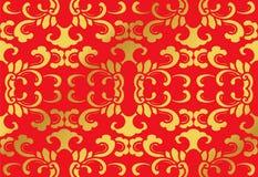 För kurvspiral för sömlös guld- kinesisk bakgrund botaniskt blad för kors Arkivbild