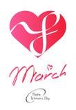 8 för kvinna` s för mars beröm för dag också vektor för coreldrawillustration Royaltyfri Bild