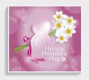 8 för kvinna` s för mars internationell kalligrafi för kort för hälsning för dag Royaltyfri Bild