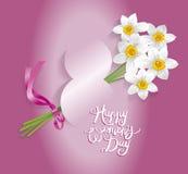 8 för kvinna` s för mars internationell kalligrafi för kort för hälsning för dag Royaltyfria Bilder