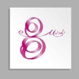 8 för kvinna` s för mars internationell kalligrafi för kort för hälsning för dag Arkivbild