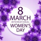 8 för kvinna` s för mars internationell mall för kort för hälsning för dag Fotografering för Bildbyråer
