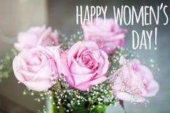 8 för kvinna` s för mars kort för hälsning för dag Arkivbilder