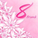 8 för kvinna` s för mars mall för kort för hälsning för dag Arkivbilder