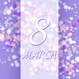 8 för kvinna` s för mars mall för kort för hälsning för dag Royaltyfri Bild