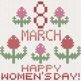 8 för kvinna` s för marsch kort för hälsning för dag med tulpan, efterföljd av cros Royaltyfri Foto