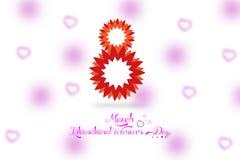 För kvinna` s för ` lycklig affisch för ` för dag med gulliga blommor Arkivbild