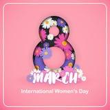 8 för kvinna` s för mars internationell bakgrund för dag Royaltyfria Bilder