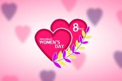 8 för kvinna` s för mars internationell dag greeting lyckligt nytt år för 2007 kort Arkivfoto