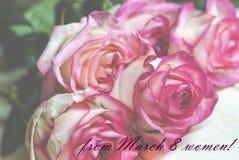 8 för kvinna` s för mars kort för hälsning för dag Royaltyfri Bild