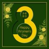 8 för kvinna` s för mars kort för hälsning för lycklig dag blom- Fotografering för Bildbyråer