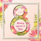 8 för kvinna` s för mars kort för hälsning för lycklig dag färgrikt blom- Fotografering för Bildbyråer
