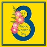 8 för kvinna` s för mars kort för hälsning för lycklig dag färgrikt blom- Royaltyfria Foton