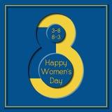 8 för kvinna` s för mars lyckligt kort för hälsning för färg för guling för blått för dag Royaltyfria Foton