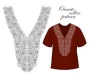 För kvinnablus för krage främre tryck Linje broderi vektor royaltyfri foto