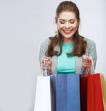 För kvinnahåll för tillfällig stil påse för shopping Studio kvinnlig isolerad po Arkivbild