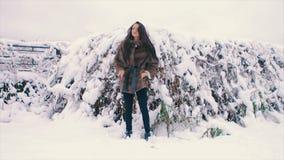 För kvinnamidja för brunett rikt lag av brun päls på bakgrund av julgranultrarapid arkivfilmer