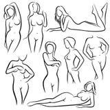 För kvinnavektor för översikt härliga konturer Linje skönhetsymboler för kvinnlig kropp stock illustrationer