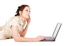 för kvinnliganteckningsbok för affärskvinna caucasian working arkivbild