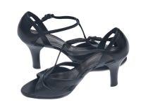 För läderkvinna för svarta höga kullar eleganta skor Royaltyfria Foton