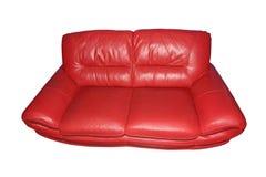 för läderred för bild 3d inre sofa isolerat Royaltyfri Bild