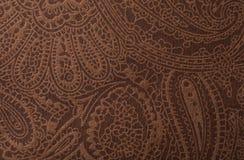 För lädertextur för mörk brunt tryck som bakgrund Royaltyfria Foton