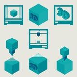 för lägenhetblått för skrivare 3D uppsättning för symboler Arkivbilder