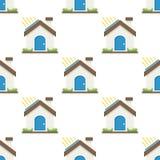 För lägenhetsymbol för grönt hus sömlös modell Royaltyfria Bilder