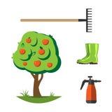 För lägenhetuppsättning för trädgårds- utrustning vektor Fotografering för Bildbyråer