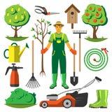 För lägenhetuppsättning för trädgårds- utrustning vektor Arkivfoto
