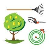 För lägenhetuppsättning för trädgårds- utrustning vektor Royaltyfria Foton