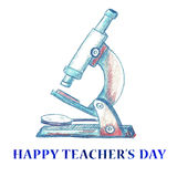 För lärare` s för vattenfärg lycklig bakgrund för dag Arkivfoto