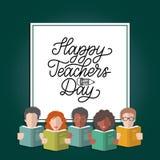 För läraredag för vektor lycklig bokstäver för hand i ram med illustrationen i plan stil stock illustrationer