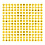 för lätt redigerbar set vektor emoticonsillustration för färger Plan design Stor samling med olika uttryck Gulliga emojisymboler  Royaltyfria Bilder