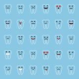 för lätt redigerbar set vektor emoticonsillustration för färger Tandtecken med olika ansiktsuttryck, sinnesrörelser Plan design U Arkivbilder
