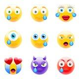 för lätt redigerbar set vektor emoticonsillustration för färger Uppsättning av Emoji vektor illustrationer