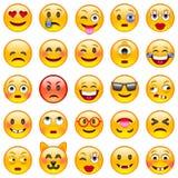 för lätt redigerbar set vektor emoticonsillustration för färger Uppsättning av Emoji Royaltyfria Bilder