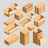 För låda ställde mallar in för vektor för packe för stolpe för pappers- ask eller pappgenomskinlig bakgrund stock illustrationer