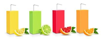 För lådakartong för fruktsaft citrus uppsättning för packe 3d vektor illustrationer