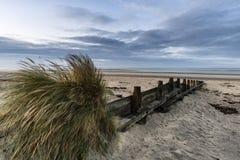 För lågvattenlandskap för härlig strand kust- bild på soluppgång med Royaltyfria Bilder